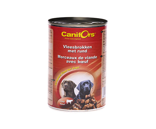 Canifors Dogs Food Meat Chunks with Beef 410g x24