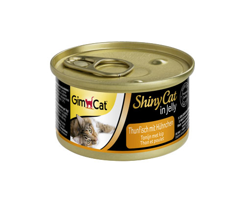 GimCat ShinyCat in Jelly tuna with chicken 24x70g