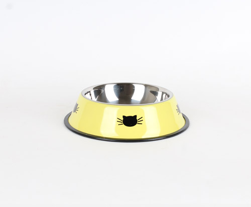 Stainless steel bowl with small cat faces 500 ml