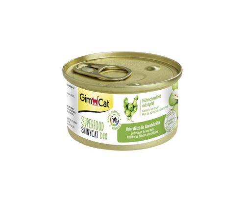 GimCat Superfood ShinyCat Duo chicken filet with apples 24x70g