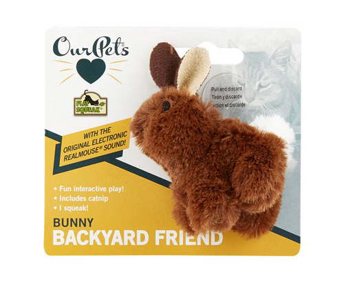OurPets Backyard Squeaking Bunny Cat Toy