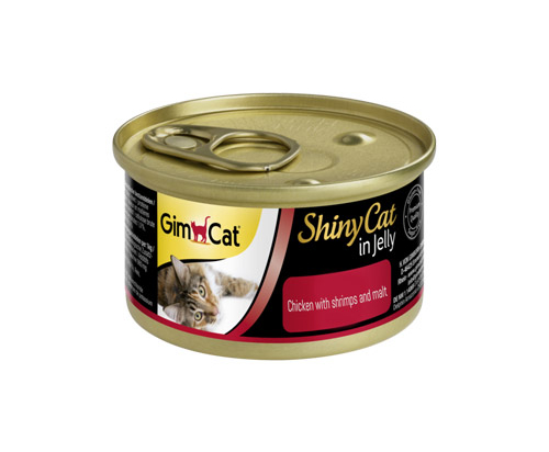 GimCat ShinyCat in Jelly chicken with shrimps and malt 24x70g