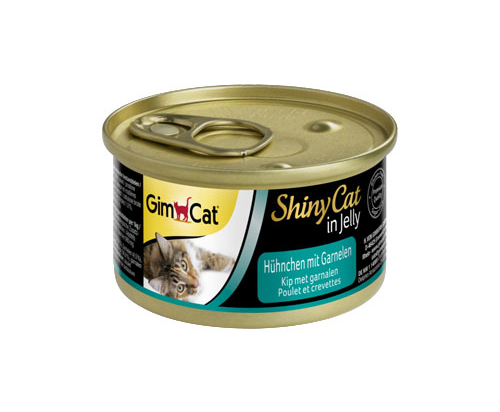 GimCat ShinyCat in Jelly chicken with shrimp 24x70g