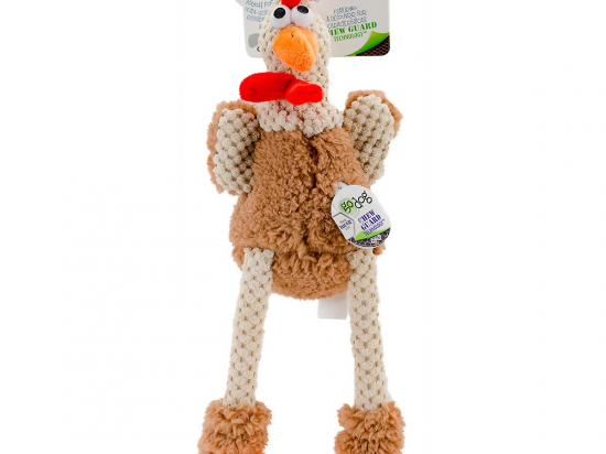 goDog Checkers Skinny Brown Roosters Dog Toy