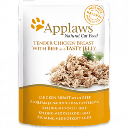 Applaws Chicken Breast with Beef in Tasty Jelly Pouch 16x70g