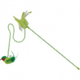 OurPets RealBirds Buzz Off Wand Interactive Toys With Sound & Catnip green