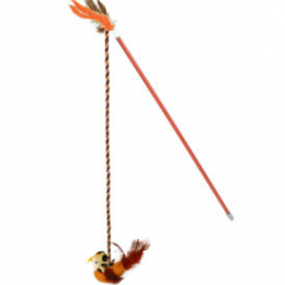 OurPets Interactive Toys RealBirds Fly Over Wand With Sound & CatnipThe color is orange