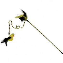 OurPets Interactive Toys RealBirds Fly Over Wand With Sound & Catnip yellow