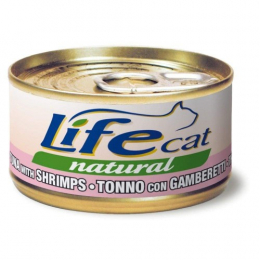 Life Cat Natural Wet Food Cans Tuna and Shrimps 24x70g