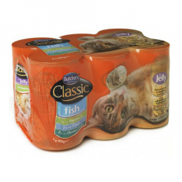 Butcher's Classic Fish Selection in Jelly Wet Food Cans for Cats 6x400g