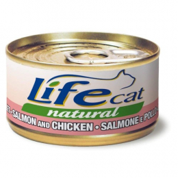 Life Cat Natural Wet Food Cans Salmon and Chicken 24x70g