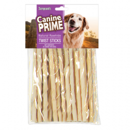 Canine Prime Twist Sticks White Rawhide 20 ct.